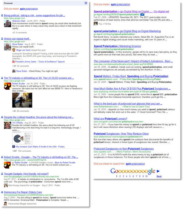spend polarization personalized versus normal results Um, Googles Search, Plus Your World Sucks So Far