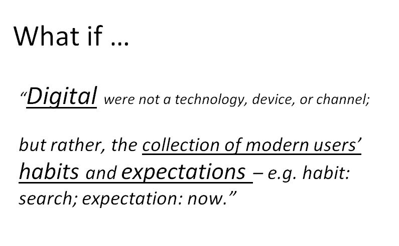 new definition of digital as collection of users habits expectations Digital Strategy Slides