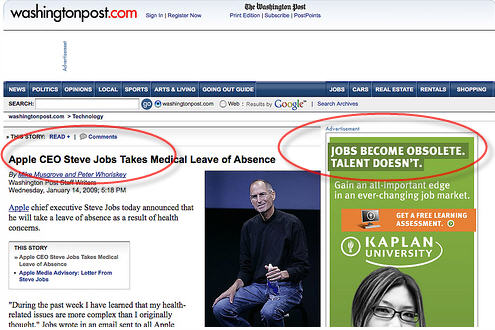 steve jobs news jobs ad Ad Targeting Gone Horribly Wrong