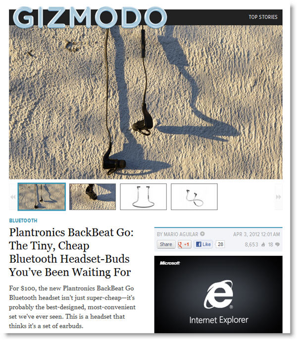 plantronics backbeat GO Gizmodo coverage Plantronics Marketing Fail   BackBeats GO covered on Gizmodo, Site Page Missing