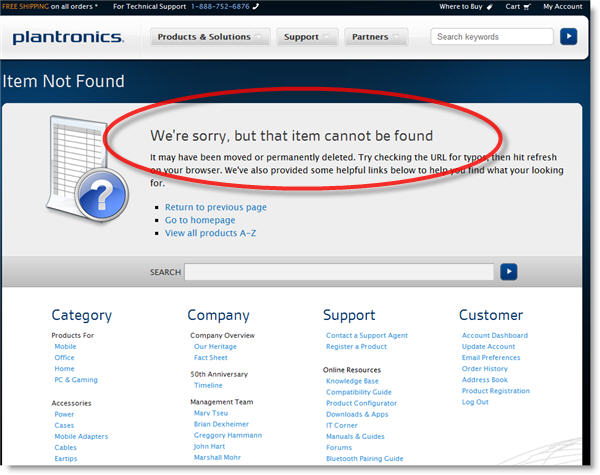 plantronics sorry item not found Plantronics Marketing Fail   BackBeats GO covered on Gizmodo, Site Page Missing