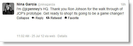 Nina Garcia Tweet Nina Garcia Tweet Drives 10% Spike in JCPenney Stock